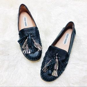 Steve Madden black leather loafers with tassels